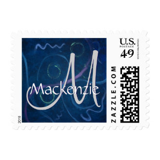 Zany Blue Chalkboard Funky Crayon Pastel Monogram Stamp