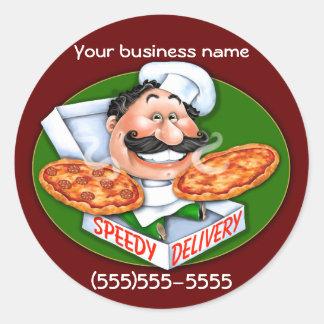 Zany Italian chef speedy pizza delivery Classic Round Sticker