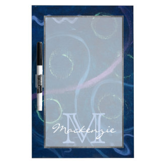 Zany Kitchen | Monogram Cute Chalk Scribble Blue Dry-Erase Board