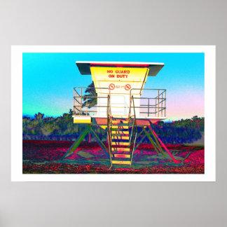 Zany lifeguard shack poster