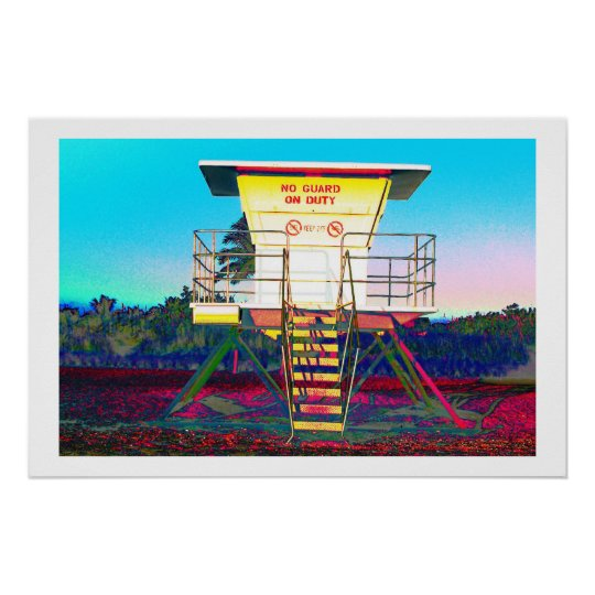 Zany lifeguard shack poster