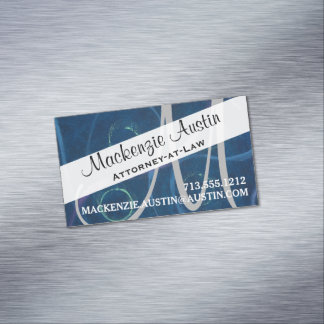 Zany Office | Monogram Trendy Chalk Artistic Chic Magnetic Business Card