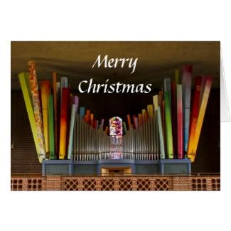 Zany organ Christmas card