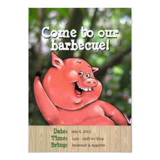 Zany pig roast summer barbecue custom invites