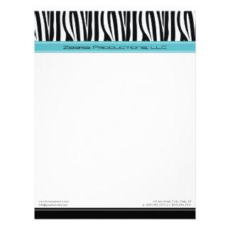 Zany Zebra Aqua Customized Designer Letterhead