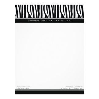 Zany Zebra Black Customized Designer Letterhead