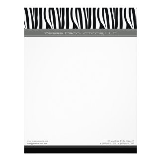 Zany Zebra Grey Customized Designer Letterhead