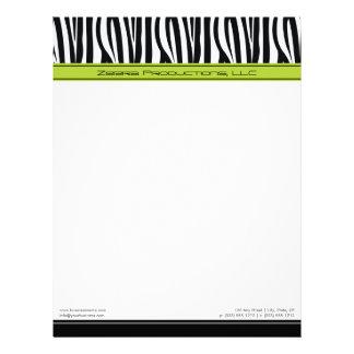 Zany Zebra Lime Customized Designer Letterhead