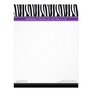 Zany Zebra Purple Customized Designer Letterhead