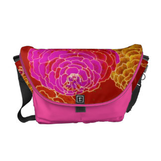 Zany Zinnias in Hot Pink Courier Bag