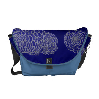 Zany Zinnias in Royal Blue Messenger Bags