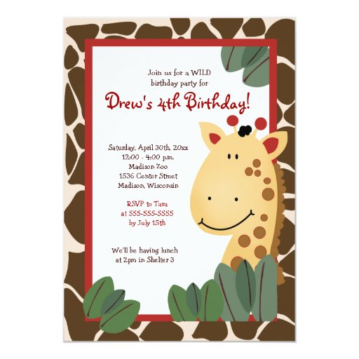 ZANZIBAR GIRAFFE PRINT 5x7 Birthday Invitation