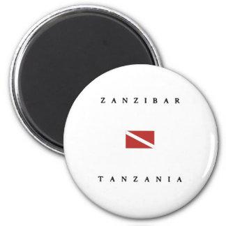 Zanzibar Tanzania Scuba Dive Flag 2 Inch Round Magnet