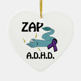 ZAP ADHD Double-Sided HEART CERAMIC CHRISTMAS ORNAMENT