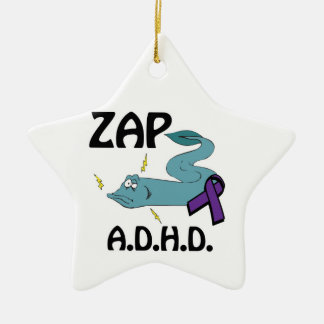 ZAP ADHD Double-Sided STAR CERAMIC CHRISTMAS ORNAMENT