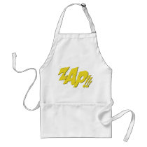 zap, batman, bat man, 1966 batman, 60's batman, batman action callout, action words, fighting sound effect words, punching sounds, adam west, burt ward, batman tv show, batman cartoon graphics, super hero, classic tv show, Apron with custom graphic design