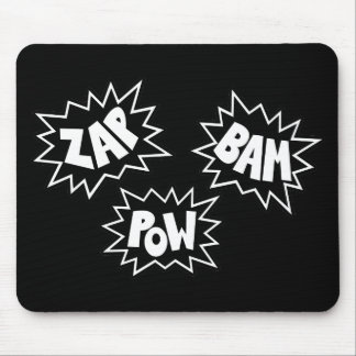 ZAP BAM POW Comic Sound FX - Black Mouse Pad