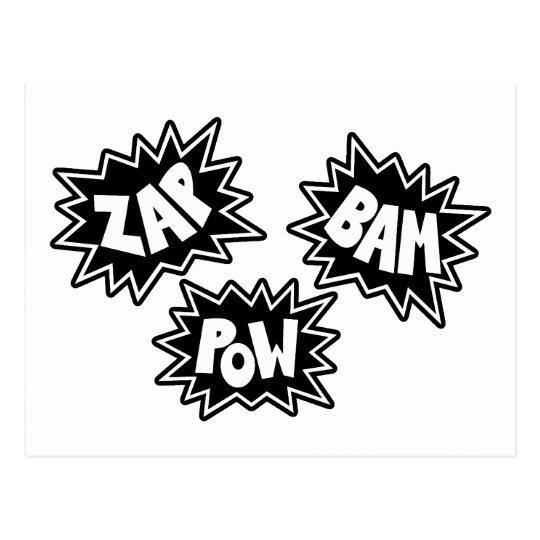 ZAP BAM POW Comic Sound FX - Black Postcard