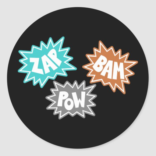 ZAP BAM POW Comic Sound FX - Orange Classic Round Sticker