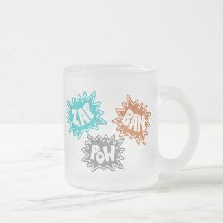 ZAP BAM POW Comic Sound FX - Orange Frosted Glass Coffee Mug
