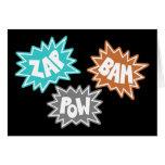 ZAP BAM POW Comic Sound FX - Orange Greeting Cards