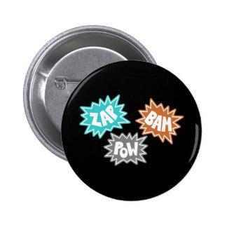 ZAP BAM POW Comic Sound FX - Orange Pinback Button