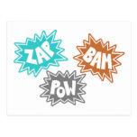 ZAP BAM POW Comic Sound FX - Orange Post Cards