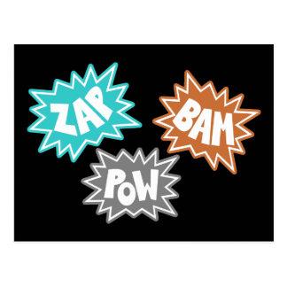 ZAP BAM POW Comic Sound FX - Orange Postcard
