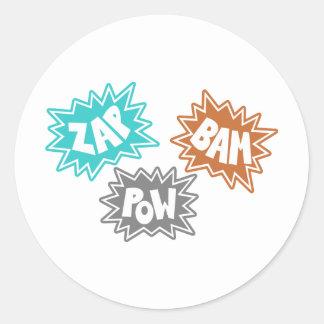 ZAP BAM POW Comic Sound FX - Orange Classic Round Sticker