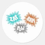 ZAP BAM POW Comic Sound FX - Orange Stickers