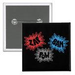 ZAP BAM POW Comic Sound FX - Original Pinback Buttons