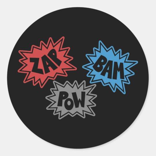 ZAP BAM POW Comic Sound FX - Original Classic Round Sticker