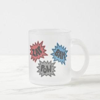 ZAP BAM POW Comic Sound FX - Original Frosted Glass Coffee Mug