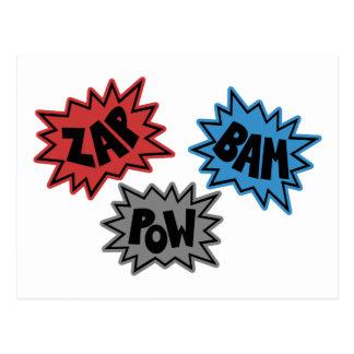 ZAP BAM POW Comic Sound FX - Original Postcard