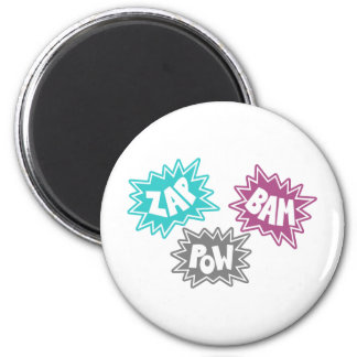 ZAP BAM POW Comic Sound FX - Pink 2 Inch Round Magnet