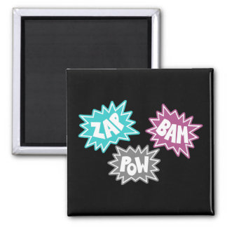 ZAP BAM POW Comic Sound FX - Pink 2 Inch Square Magnet