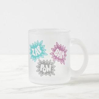 ZAP BAM POW Comic Sound FX - Pink Frosted Glass Coffee Mug
