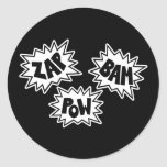 ZAP BAM POW Comic Sound FX - White Classic Round Sticker