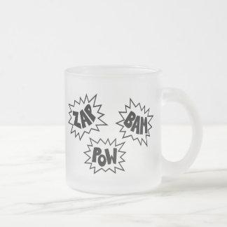 ZAP BAM POW Comic Sound FX - White Frosted Glass Coffee Mug