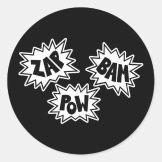 ZAP BAM POW Comic Sound FX - White Round Stickers