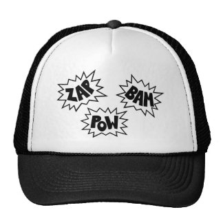 ZAP BAM POW Comic Sound FX - White Trucker Hat