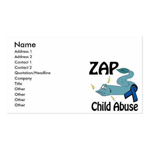 ZAP Child Abuse Business Card Template
