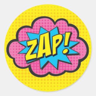 ¡ZAP! Pegatinas GV@ del super héroe Pegatina Redonda