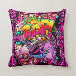 Zap Pink Alien throw pillow