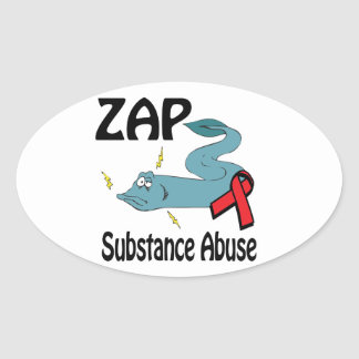 ZAP Substance Abuse Oval Stickers