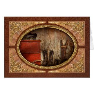 Zapatero - el limpiabotas 1900 del zapato tarjeta de felicitación