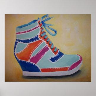 Zapatilla de deporte colorida de la calle impresiones