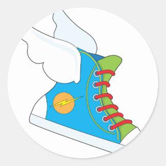 Zapatilla de deporte del vuelo pegatina redonda