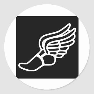 Zapatilla deportiva coa alas pegatina redonda