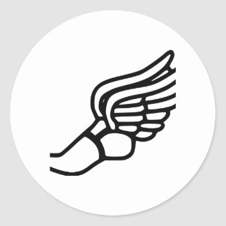 Zapatilla deportiva con las alas pegatina redonda
